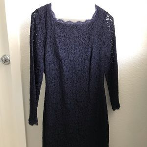 Navy Adrianna Papell lace dress